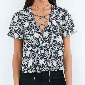 Kimichi Blue Lace Up Top